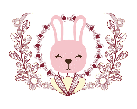 rabbit only face and leaves vector illustration graphic design