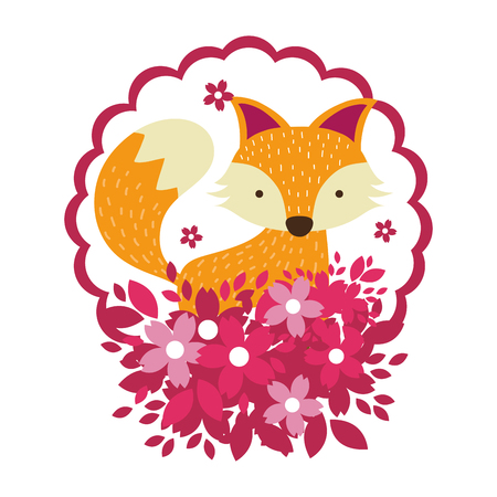 fox only face and flowers vector illustration graphic design