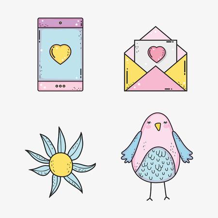 set happy valentines day celebration with love decoration vector illustration