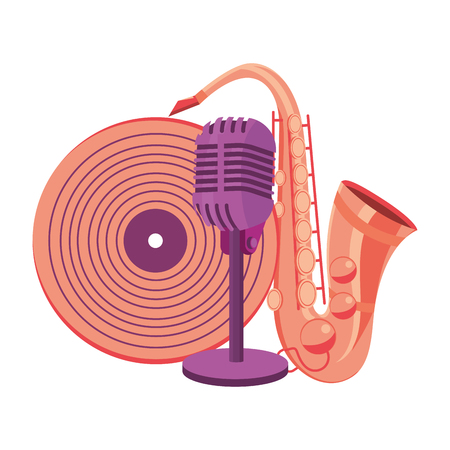 saxophone microphone and vinyl record vector illustration graphic design