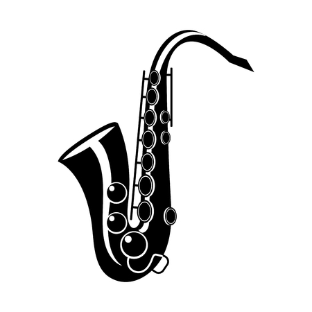 saxophone isolated icon black and white vector illustration graphic design
