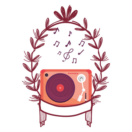 turntable with music notes and leaves vector illustration graphic design