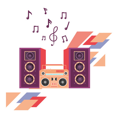 speakers and boom box pop art vector illustration graphic design