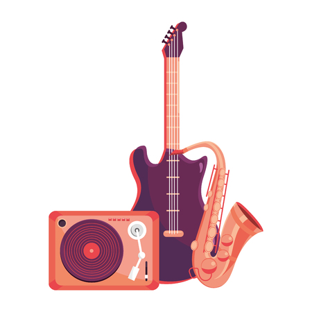 turntable with instruments guitar and saxophone vector illustration graphic design