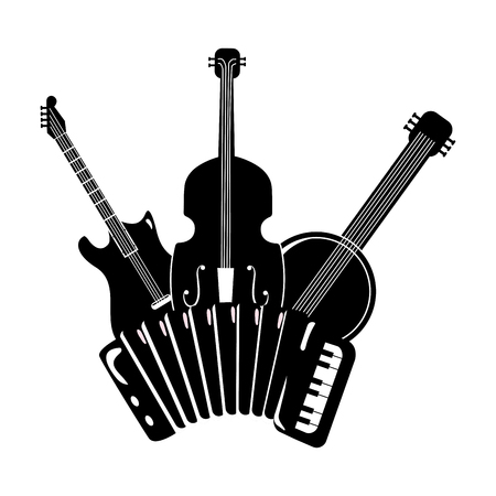 music instruments collection black and white vector illustration graphic design