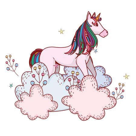 unicorn with shrubbery vector illustration graphic design