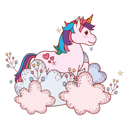 unicorn with shrubbery baby vector illustration graphic design