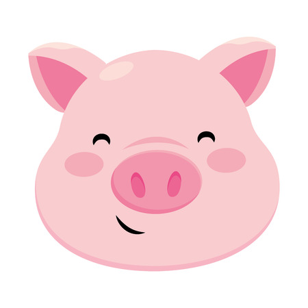 pig smiling icon isolated only face vector illustration graphic design