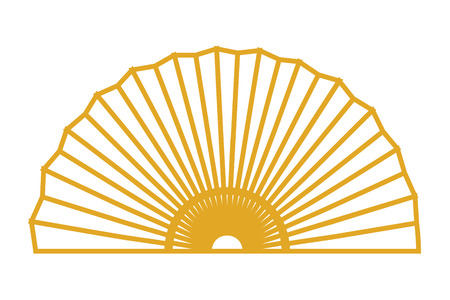 chinece golden fan drawing vector illustration graphic design