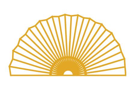 Ventilateur d'or chinece dessin illustration vectorielle design graphique