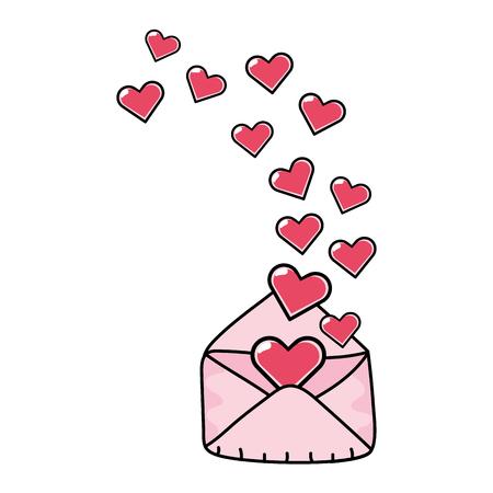 love valentines envelope with hearts cartoon vector illustration graphic design
