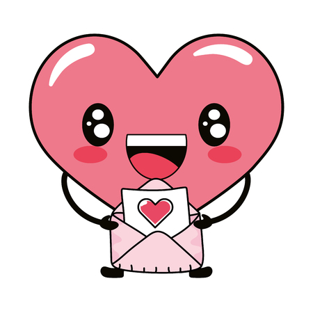 love heart with valentines envelope cartoon vector illustration graphic design