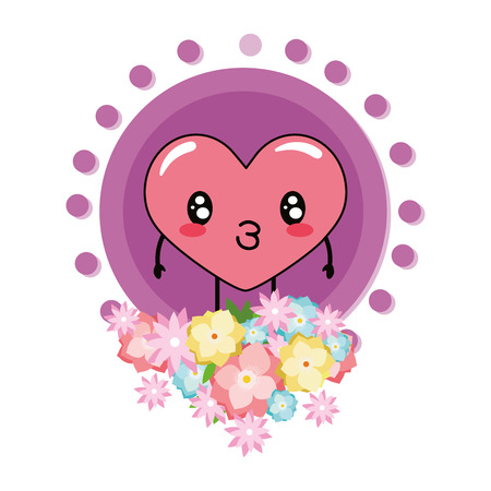 love heart flowers round icon cartoon vector illustration graphic design