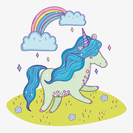 cute unicorn animal and rainbow with clouds vector illustration Stock Illustratie