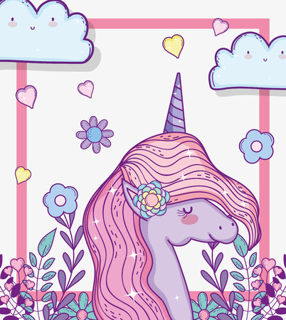 cute unicorn with flowers and branches leaves vector illustration Illustration