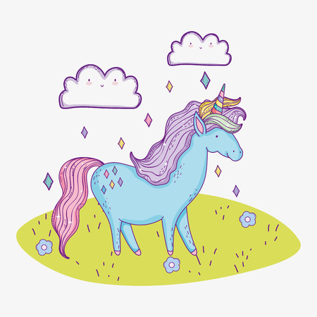 cute unicorn animal with clouds character vector illustration 일러스트
