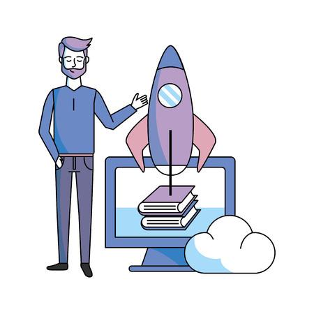 man with computer skyrocket books vector illustration graphic design Foto de archivo - 126216958