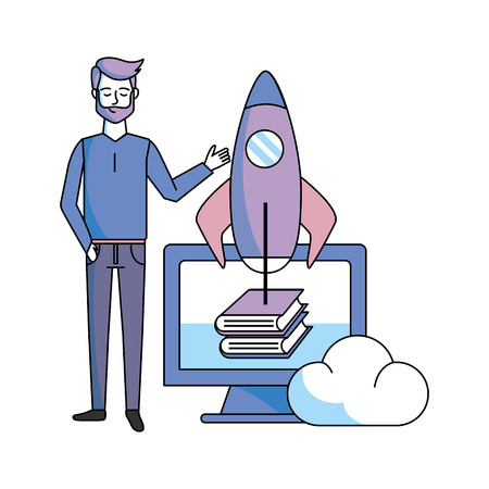 man with computer skyrocket books vector illustration graphic design