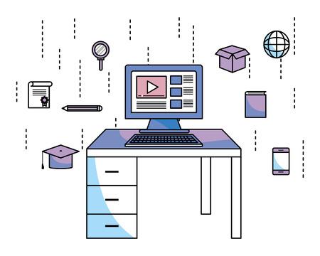 computer e scrivania con elementi educativi cappello di laurea globo cellulare illustrazione vettoriale graphic design