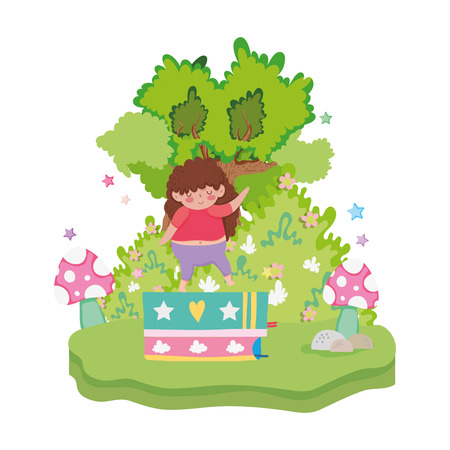 Little chubby girl with pile books in the landscape vector illustration design