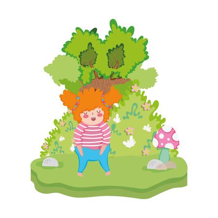Niña gordita en el paisaje, diseño de ilustraciones vectoriales
