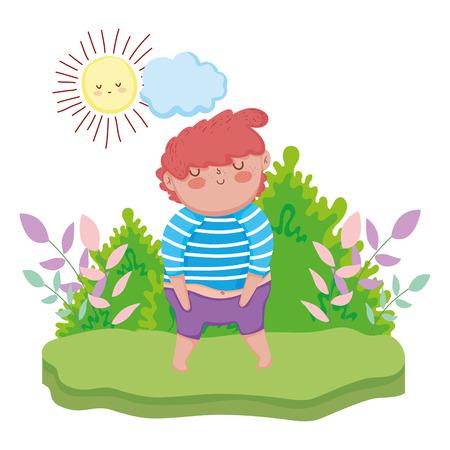 little chubby boy in the landscape vector illustration design