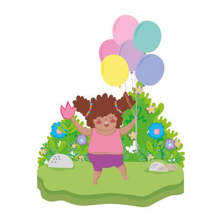 Niña gordita con globos de aire en el paisaje, diseño de ilustraciones vectoriales Ilustración de vector