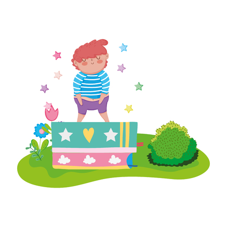 little chubby boy with books in the landscape vector illustration design