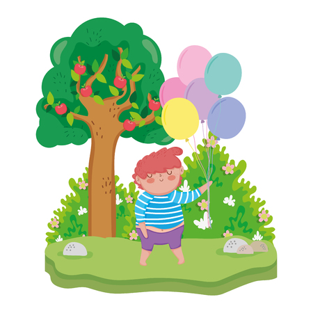 chubby boy with balloons helium in the landscape vector illustration design
