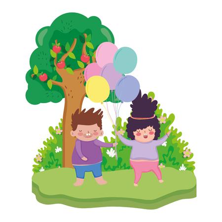 little chubby couple in the landscape vector illustration design Illustration