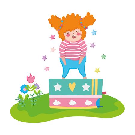 Niña gordita con libros de pila en el paisaje, diseño de ilustraciones vectoriales