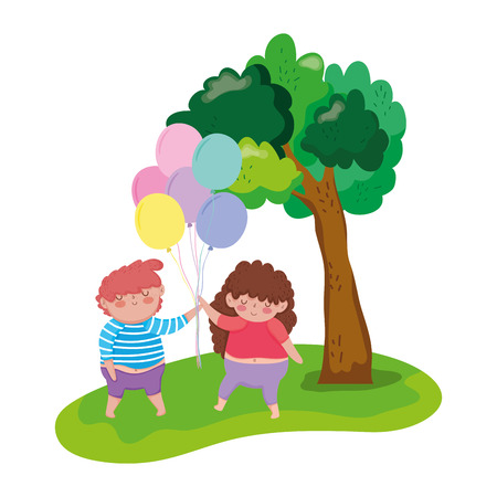 little chubby couple in the landscape vector illustration design