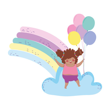 Little chubby girl with rainbow and balloons helium vector illustration design