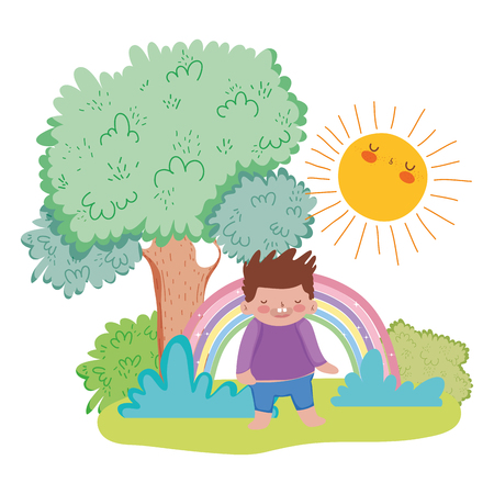 little chubby boy with rainbow in the landscape vector illustration design Illustration