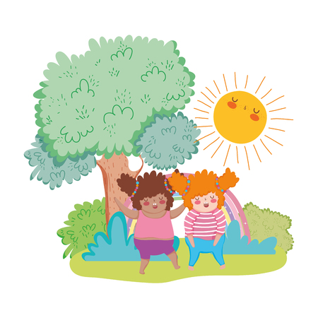 Little chubby girls in the landscape vector illustration design