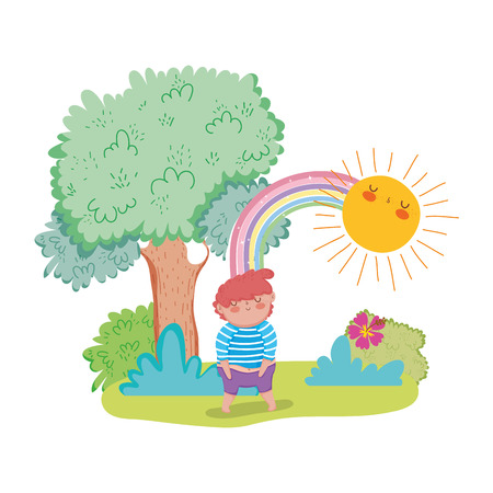 little chubby boy with rainbow in the landscape vector illustration design Stock Illustratie