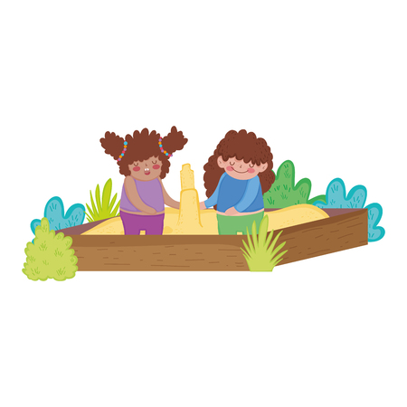 Little chubby girls playing in sand box vector illustration design