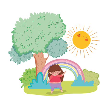 Little chubby girl with rainbow in the landscape vector illustration design Illustration