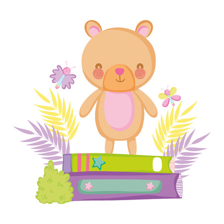 cute bear teddy with books vector illustration design