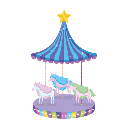circus carousel scene icon vector illustration design