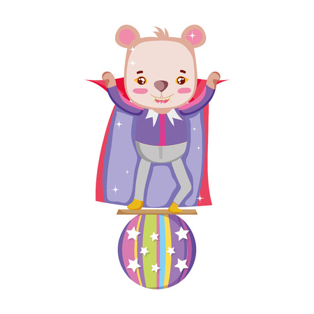 cute circus bear with layer in balloon vector illustration design