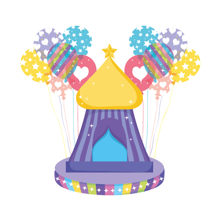 cute circus tent with balloons helium vector illustration design Vetores