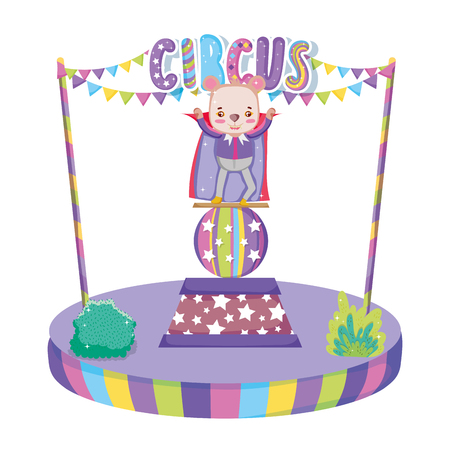 cute circus bear with layer in stage vector illustration design Illustration