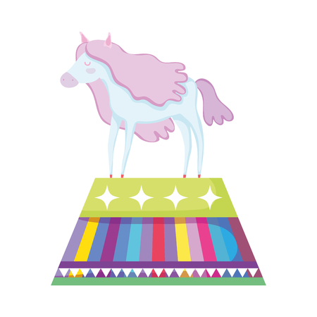 beautiful circus horse in stage character vector illustration design