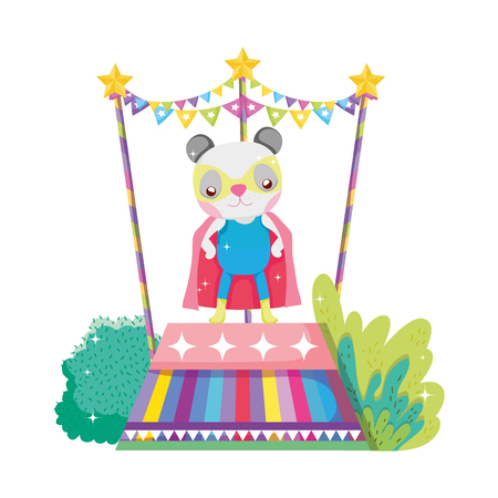 cute circus cat with layer in stage vector illustration design Illustration
