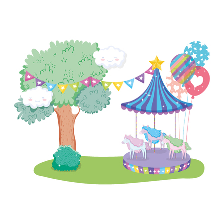 circus carousel scene in the landscape vector illustration design