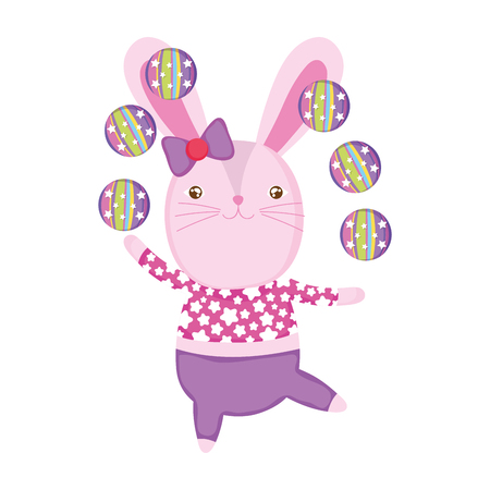 cute circus rabbit juggling balls vector illustration design