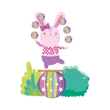 cute circus rabbit in balloon vector illustration design