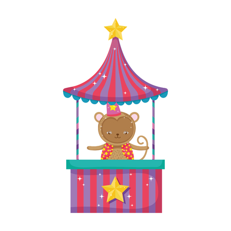 funny circus monkey with hat in kiosk vector illustration design