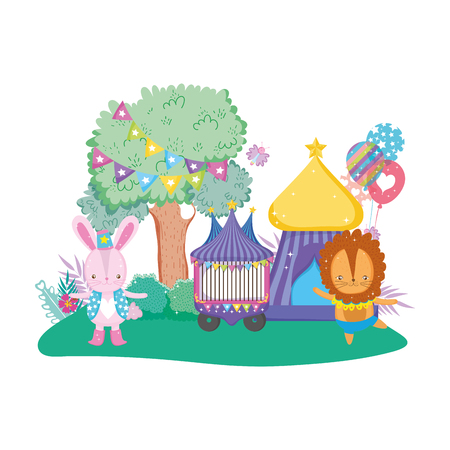 cute lion circus with balloons helium vector illustration design